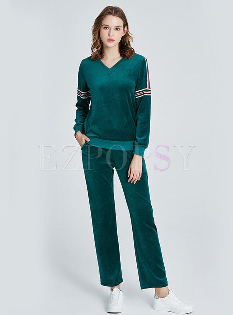 V-neck Color-blocked Striped Velvet Pajama Set