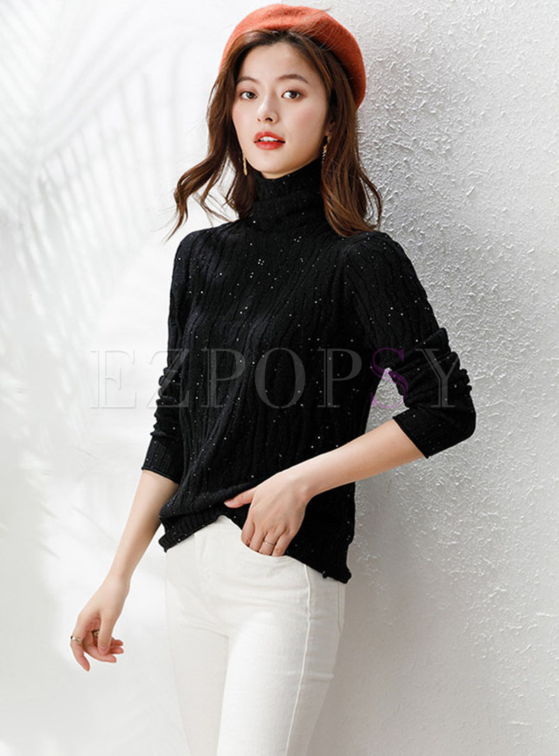 Turtleneck Pullover Slim Solid Sweater