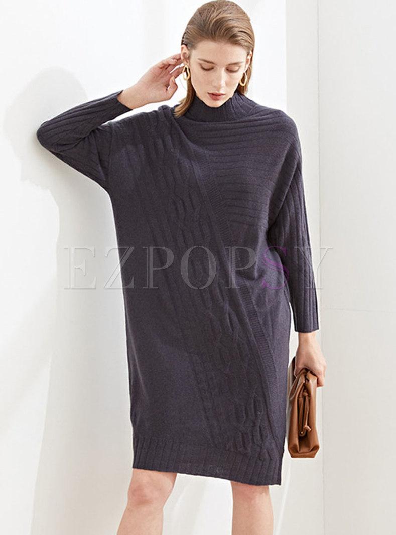 Turtleneck Knee-length Shift Sweater Dress