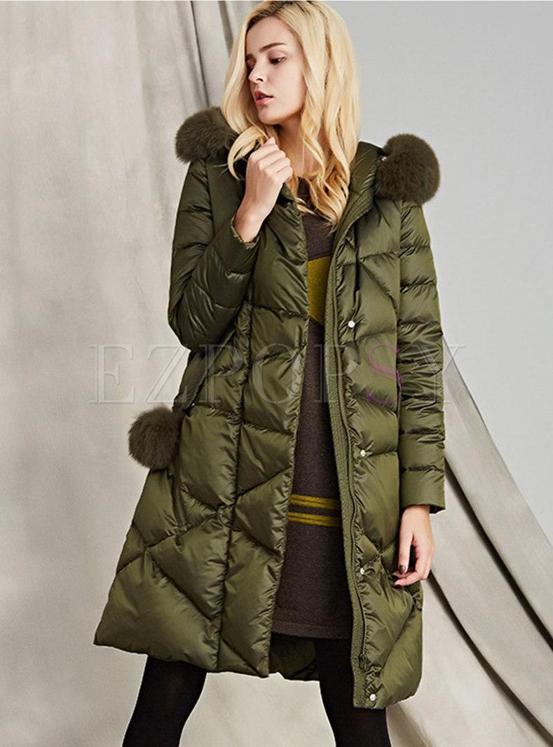 Hooded Straight Knee-length Down Coat