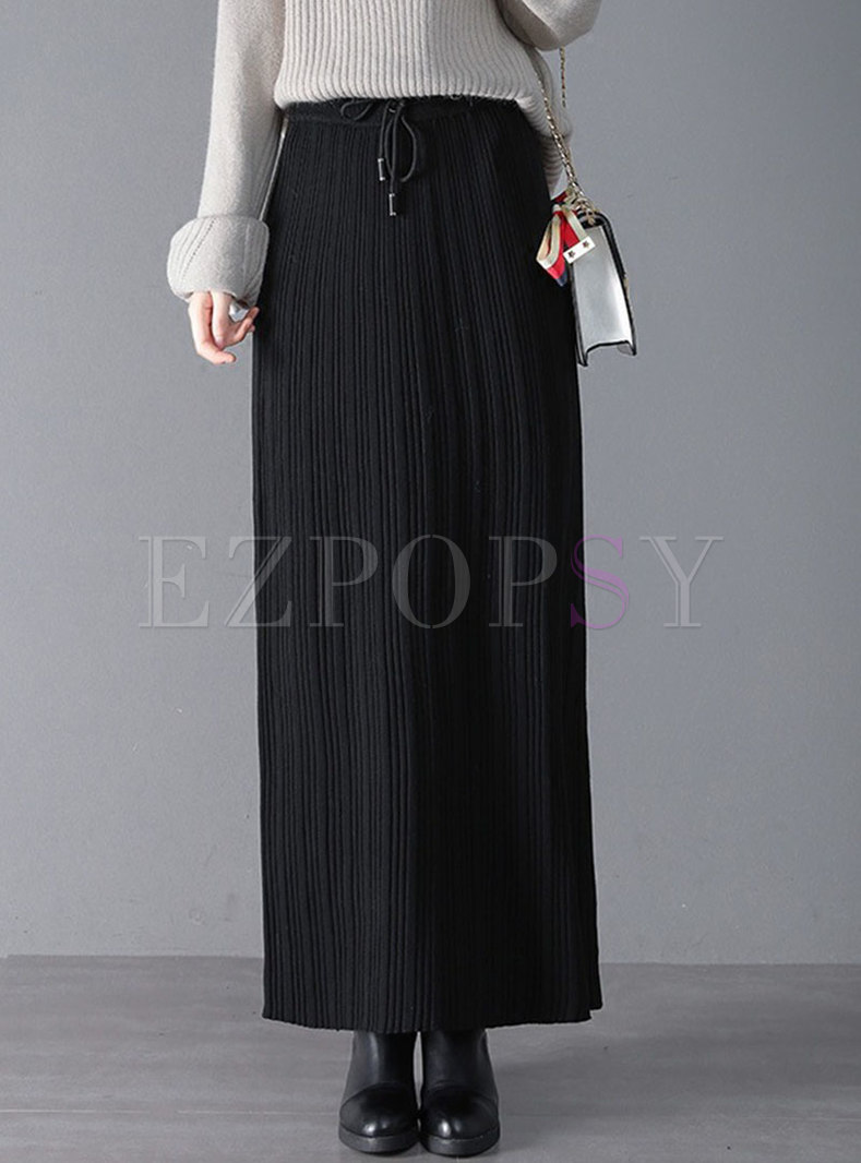 High Waisted Straight Knitted Long Skirt