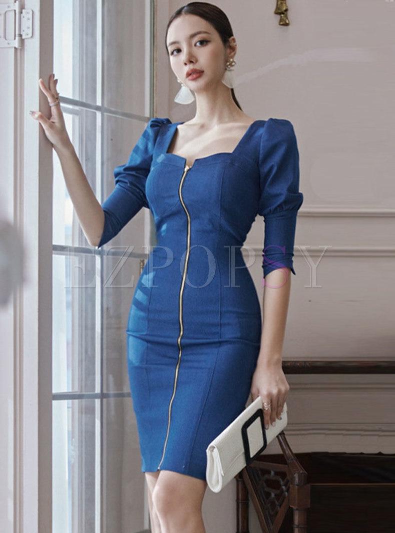 Square Neck 3/4 Sleeve Bodycon Dress