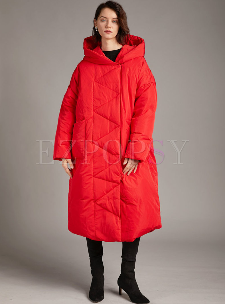 Long Sleeve Single-breasted Down Coat
