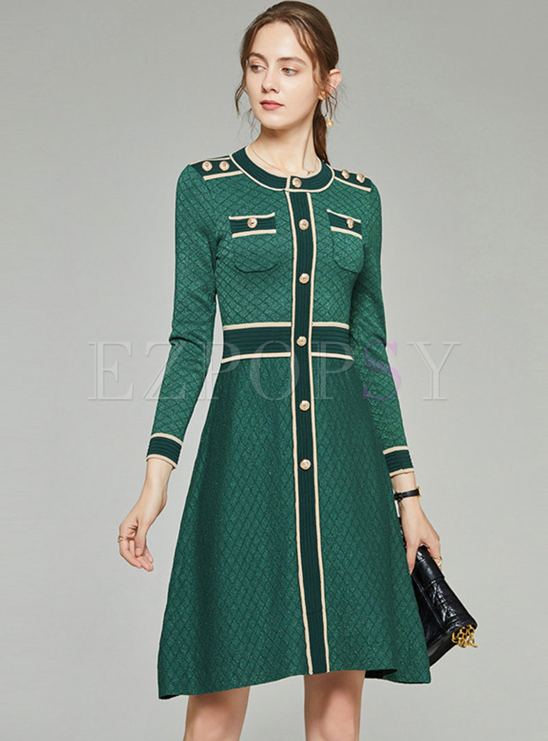 Color-blocked Patchwork Diamond Sweater Dress