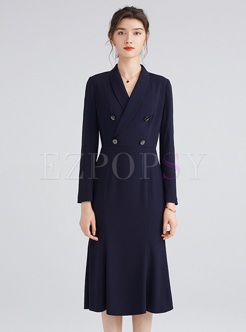 Long Sleeve Double-breasted Peplum Dress