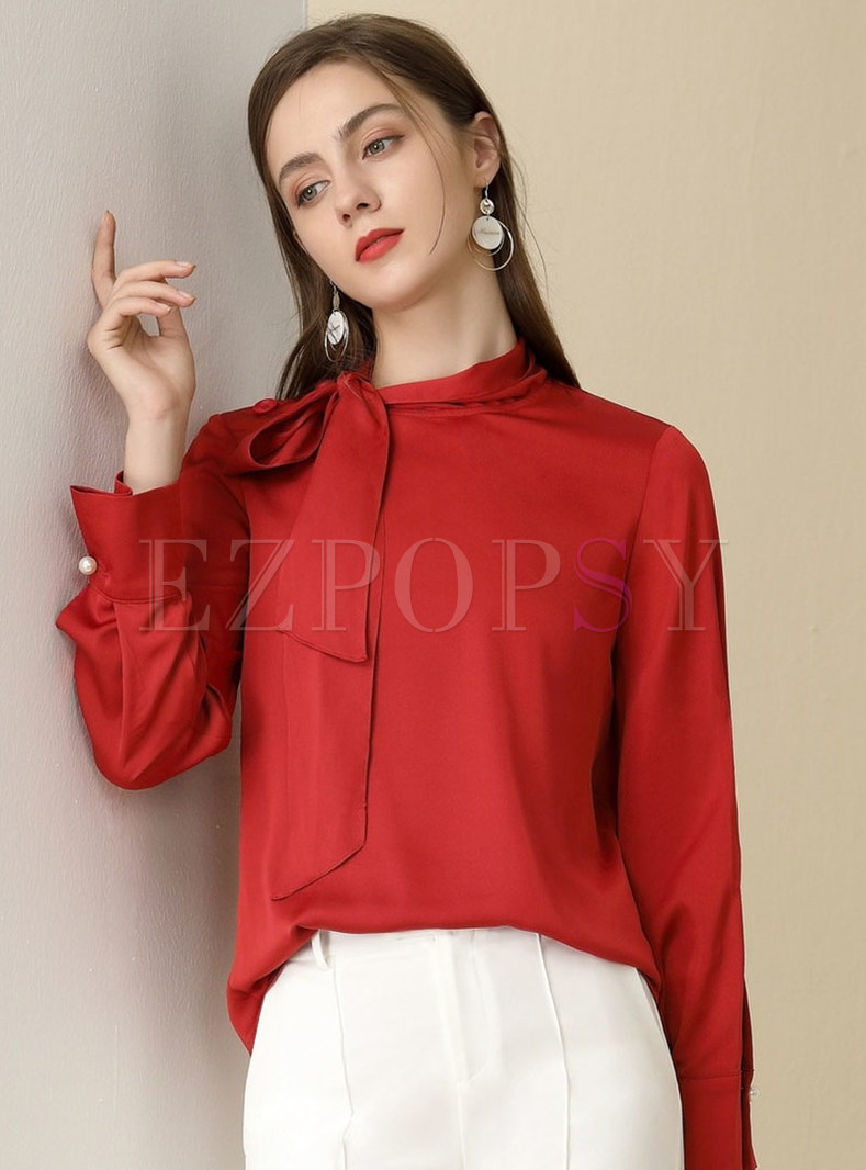Bowknot Long Sleeve Pullover Blouse