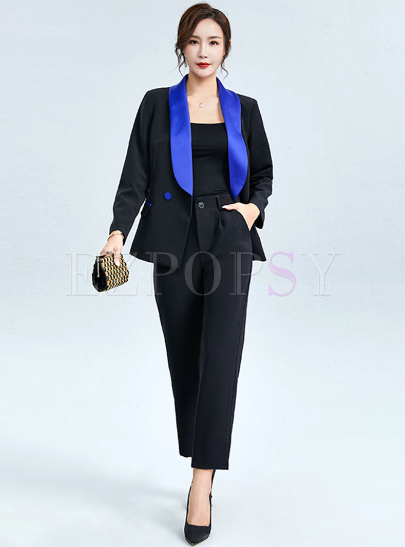 Color-blocked Lapel High Waisted Pant Suits