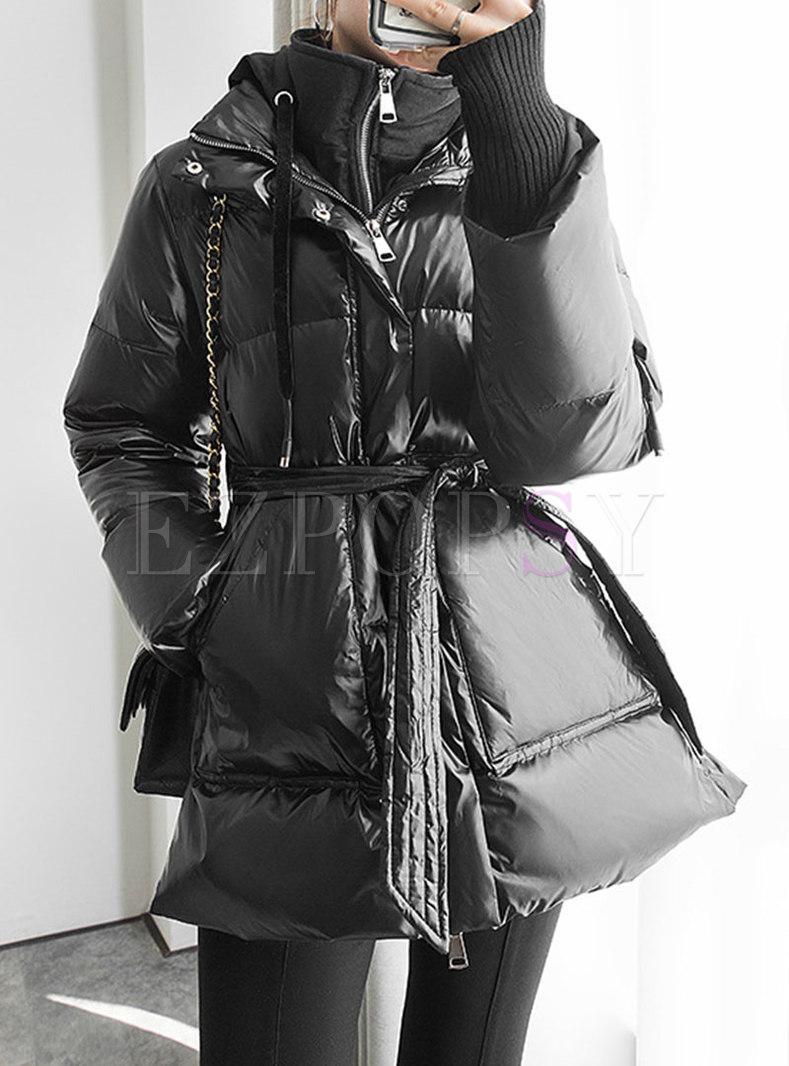 Mock Neck Hooded A Line Down Coat