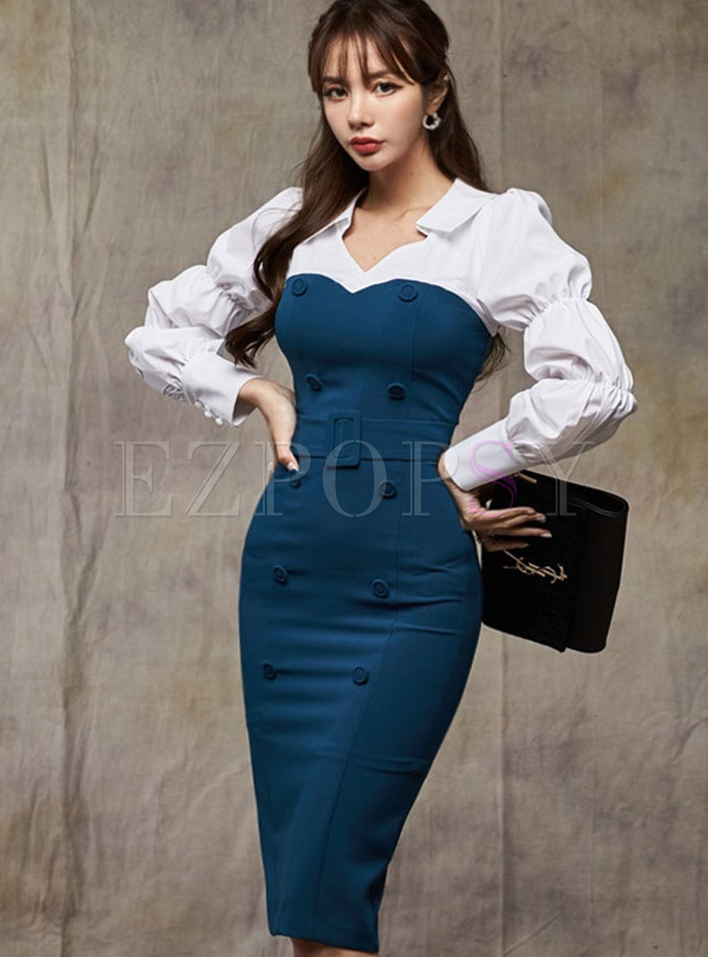 Color-blocked Puff Sleeve Patchwork Bodycon Dress