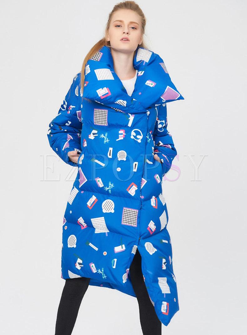 Asymmetric Print Long Puffer Coat