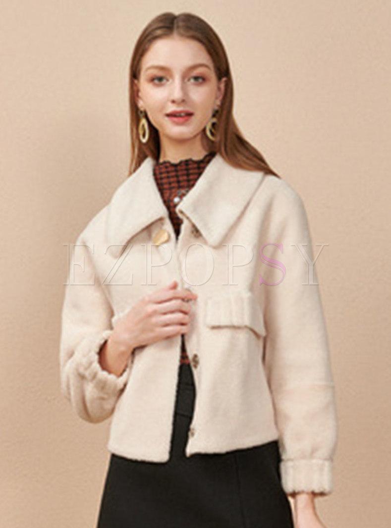 Turn Down Collar Fleece Short Jacket