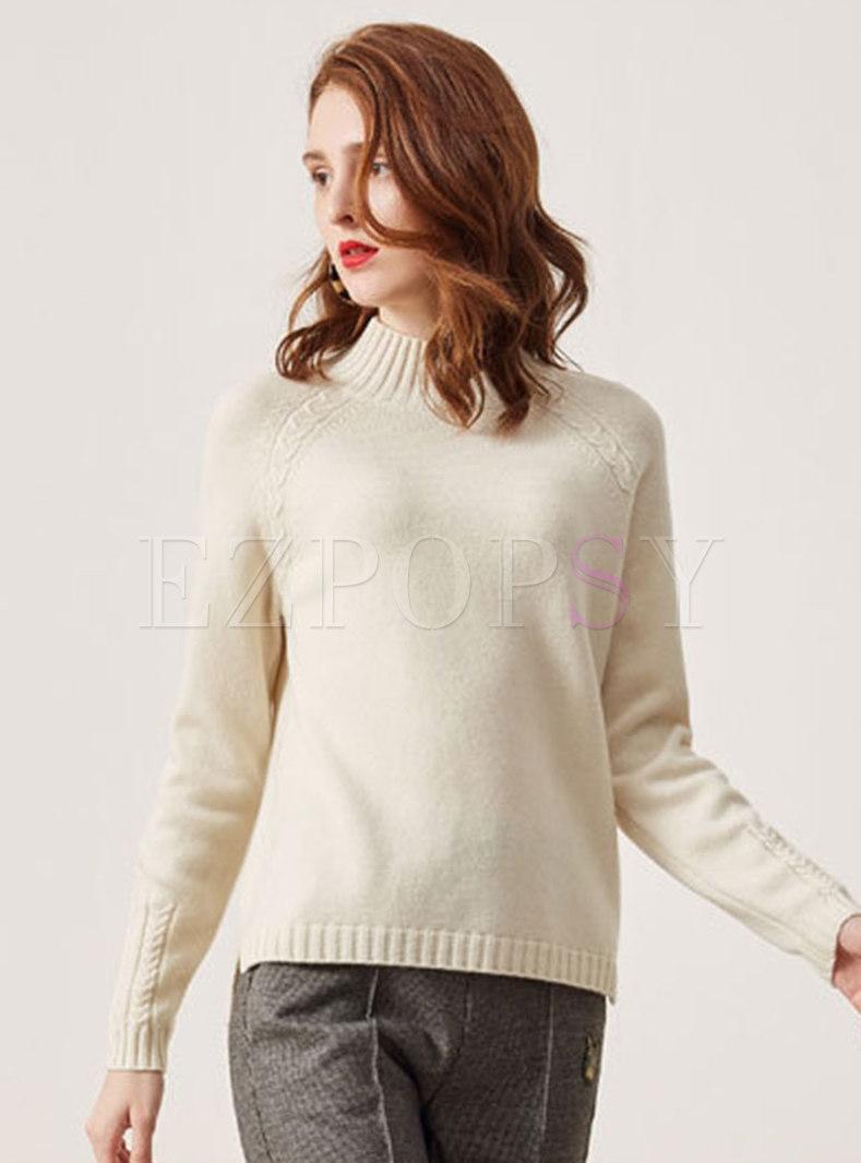 Half Turtleneck Pullover Loose Sweater