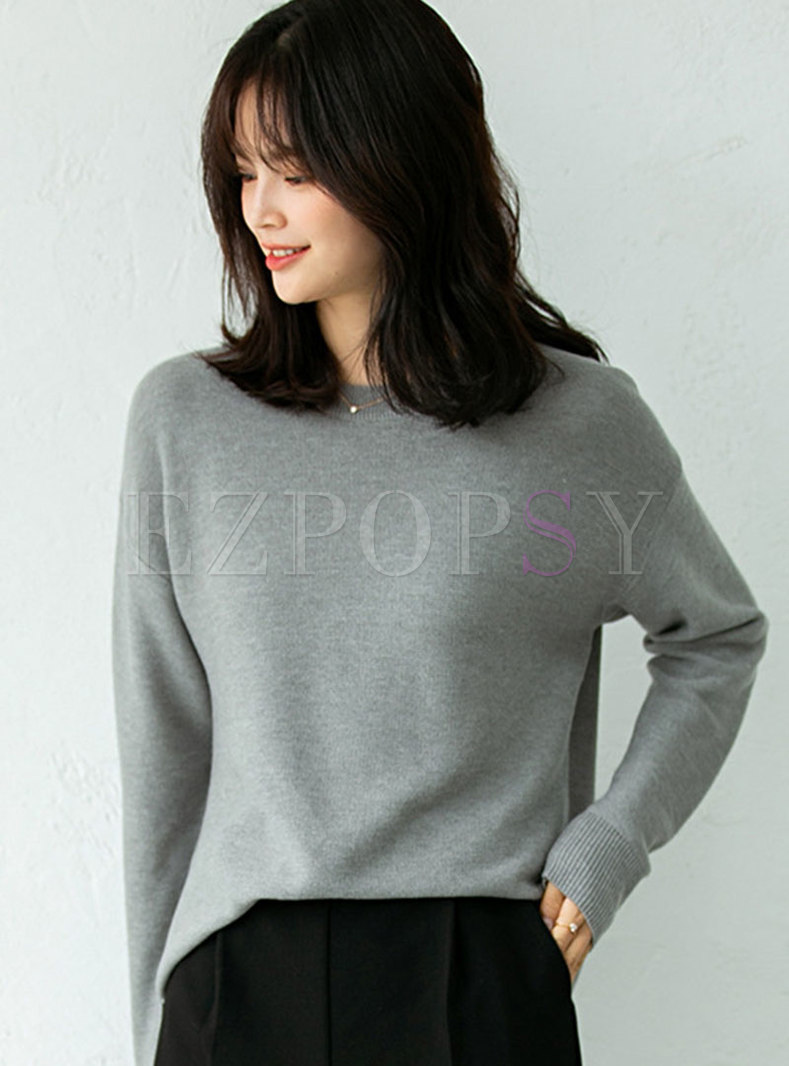 Solid Pullover Split Loose Sweater