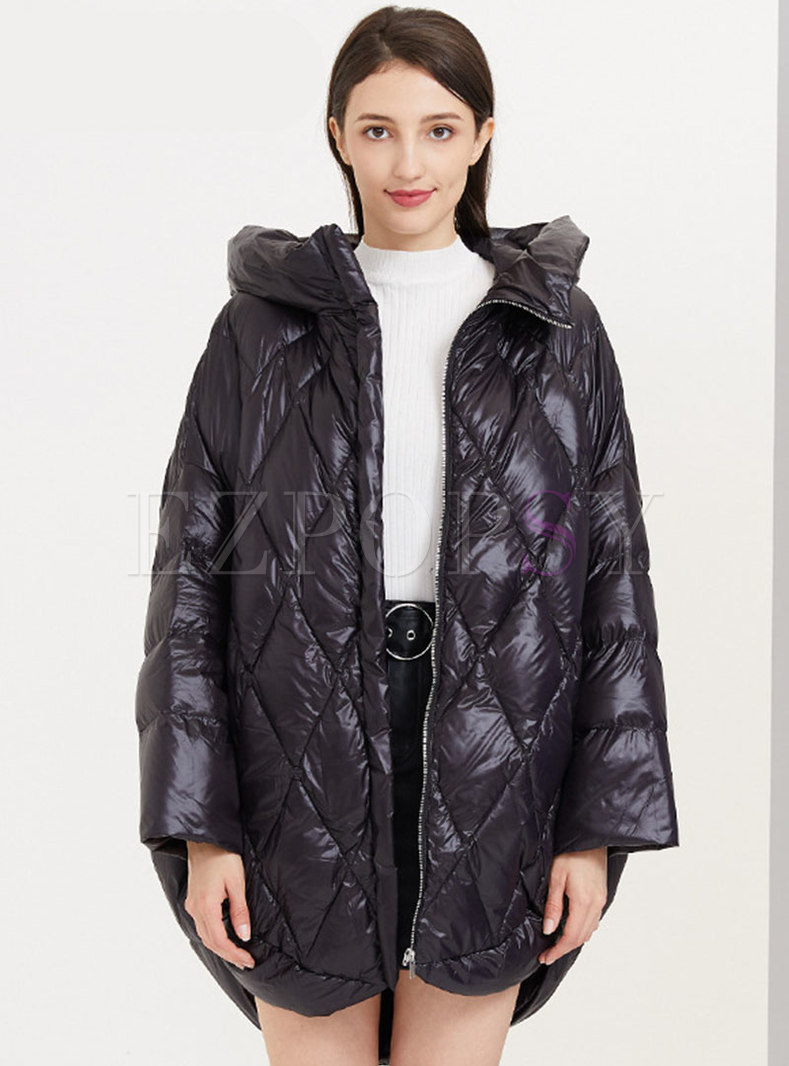 Hooded Diamond Straight Lightweight Down Coat