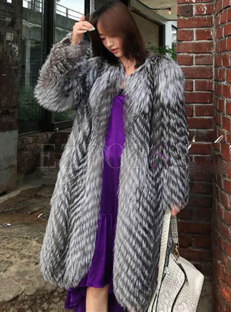 Crew Neck Straight Long Faux Fur Coat