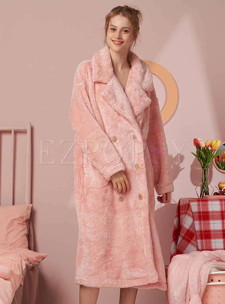 Lapel Double-breasted Long Coral Robe