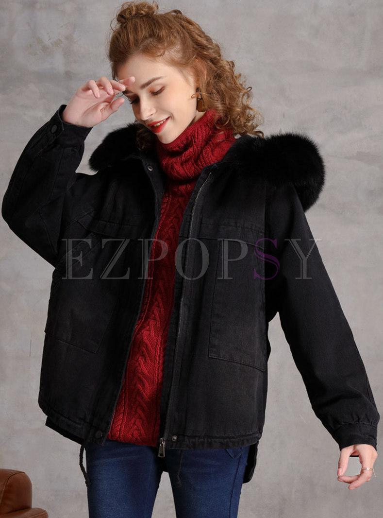 Rabbit Hair Short Plush Denim Coat