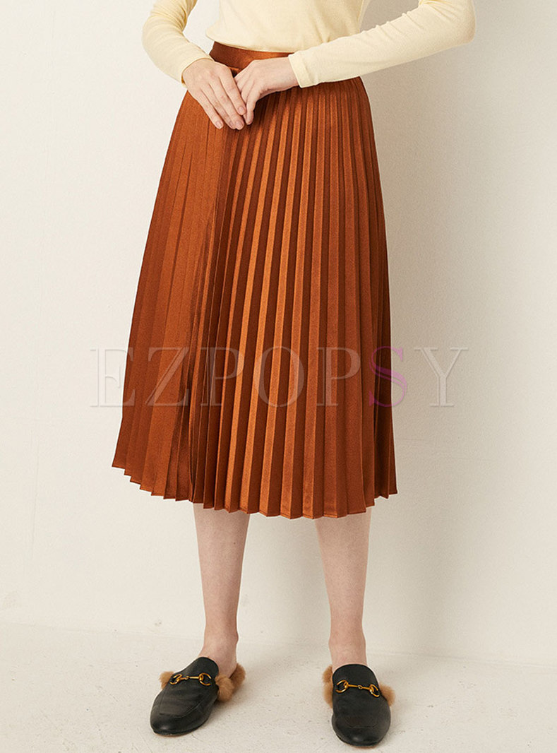 High Waisted A Line Solid Midi Skirt