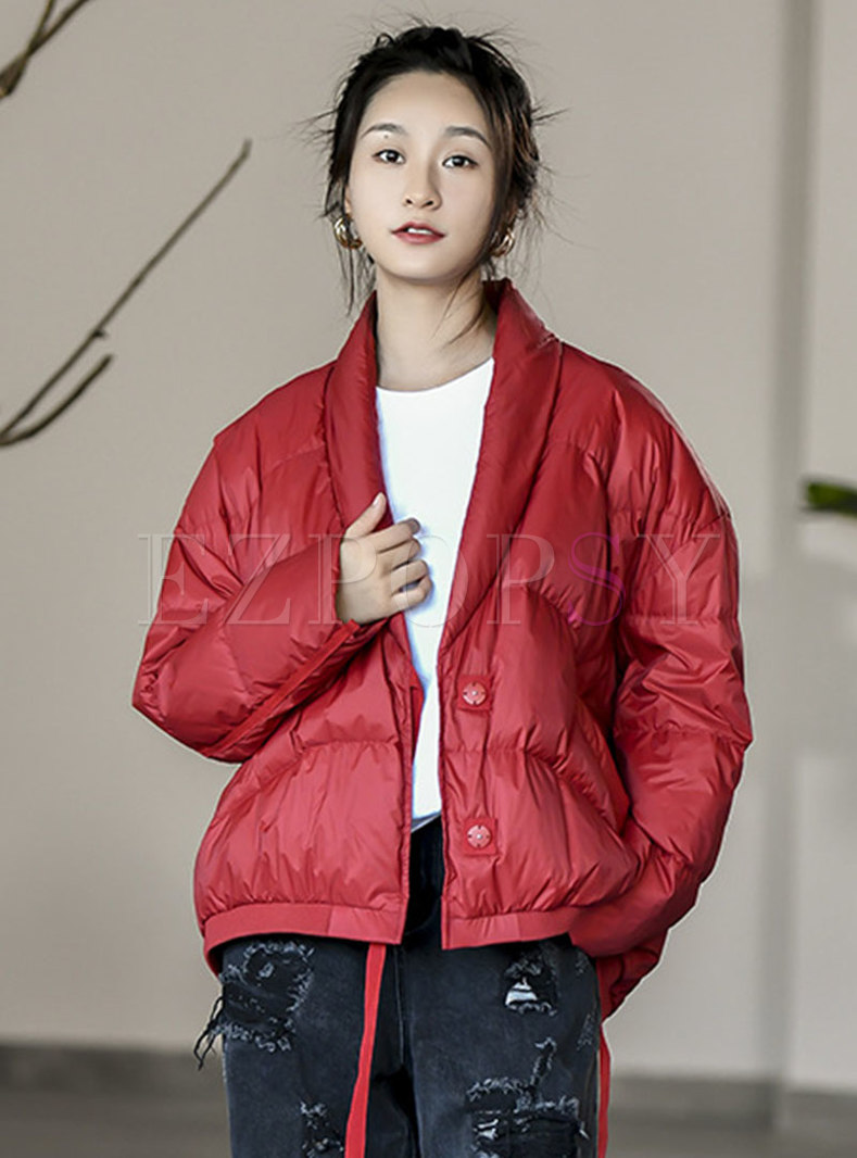 Solid Short Loose Lightweight Puffer Jacket