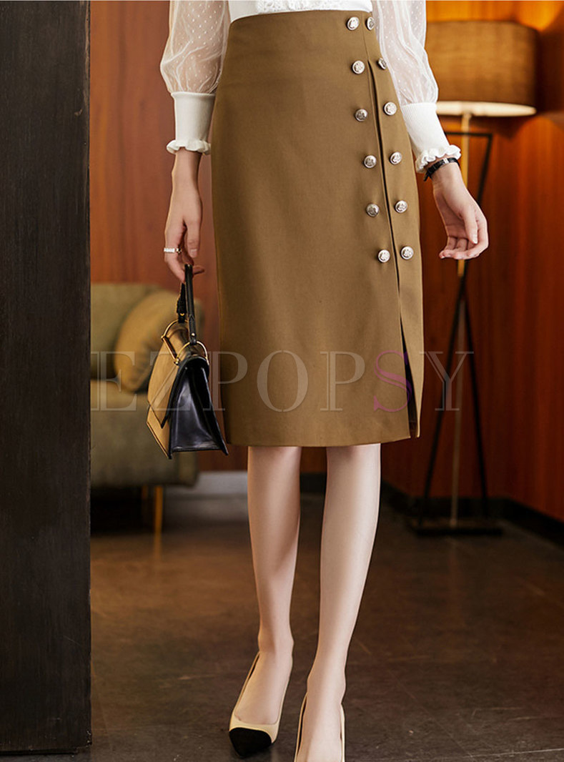 High Waisted Split Knee-length Skirt