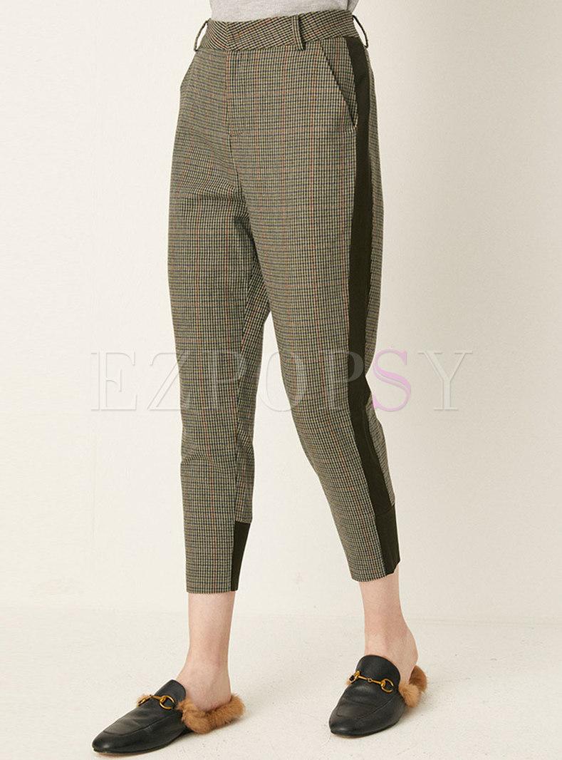 High Waisted Plaid Harem Pants