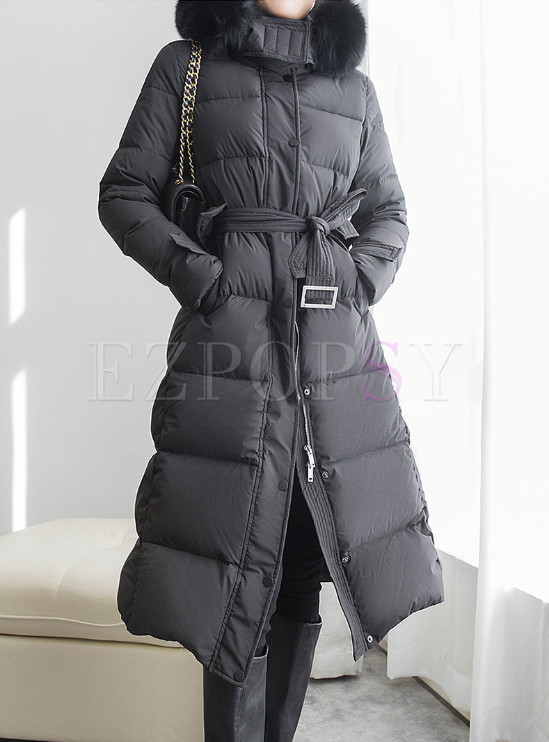 Solid Hooded Slim Long Split Puffer Coat
