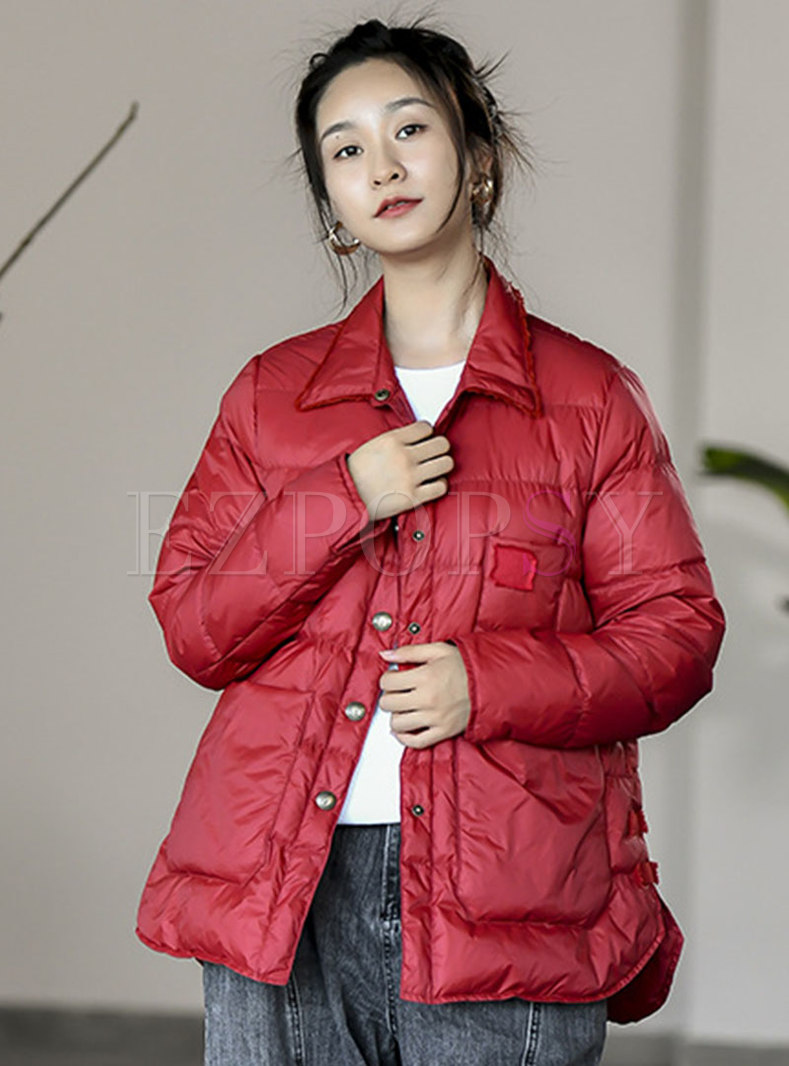 Lapel Short Lightweight Down Coat