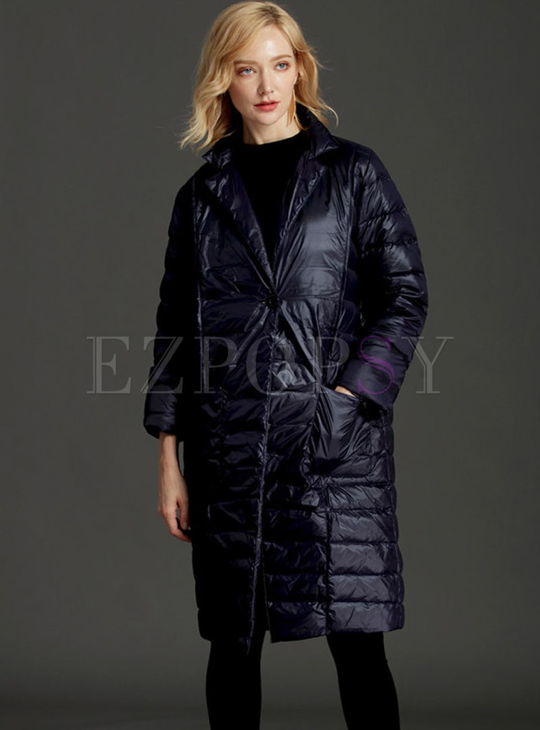 Lapel Knee-length Straight Puffer Coat