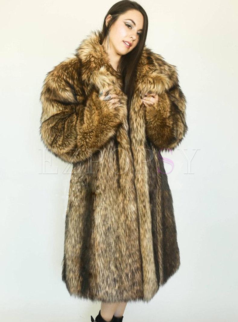 Lapel Straight Long Faux Fur Coat