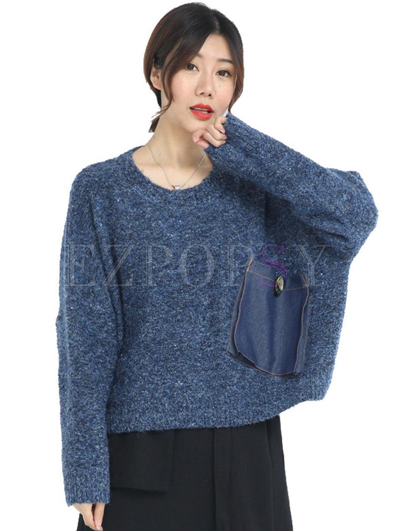 Crew Neck Bat Sleeve Pullover Sweater