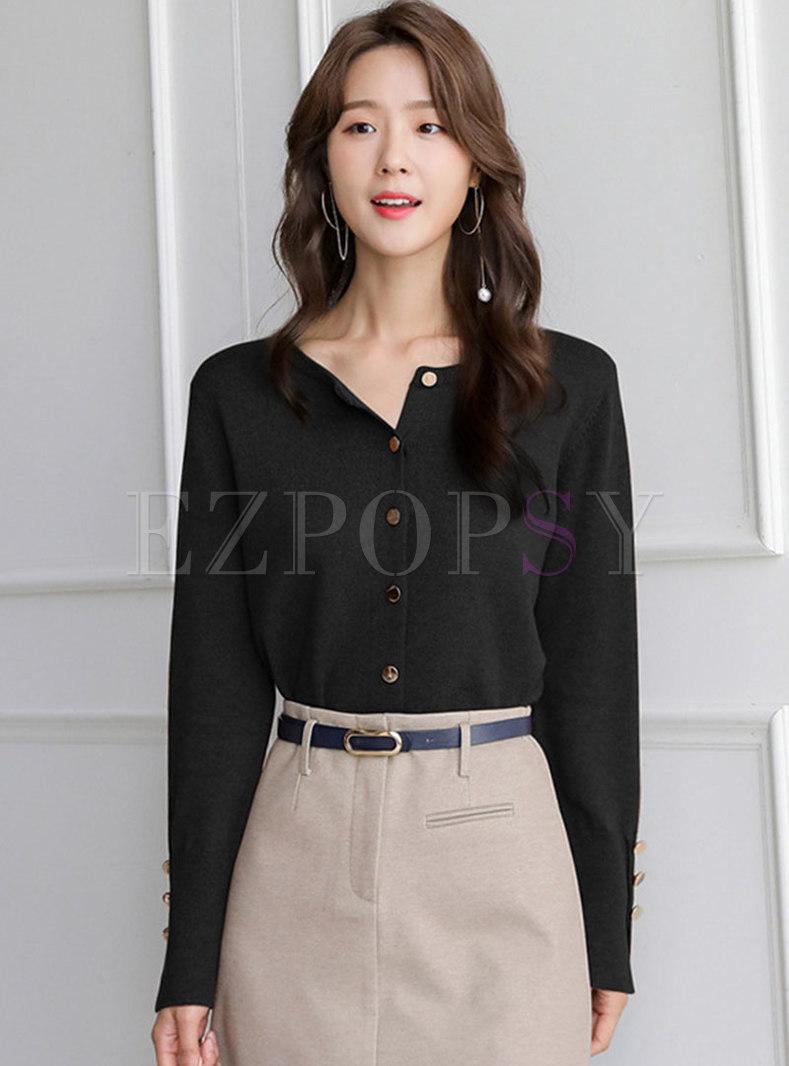 Long Sleeve Single-breasted Short Cardigan