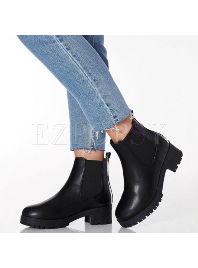 Rounded Toe Chunky Heel Winter Ankle Boots