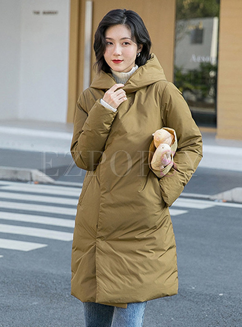 Hooded Straight Loose Down Coat