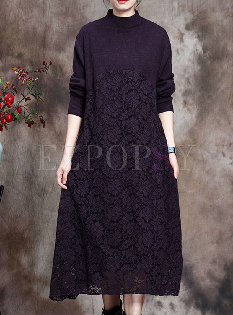 Mock Neck Knitted Patchwork Lace Shift Dress