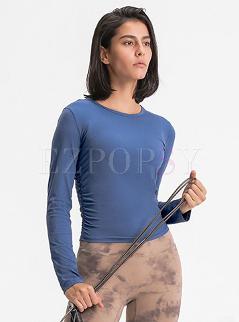 Solid Pullover Slim Ruched Yoga Top