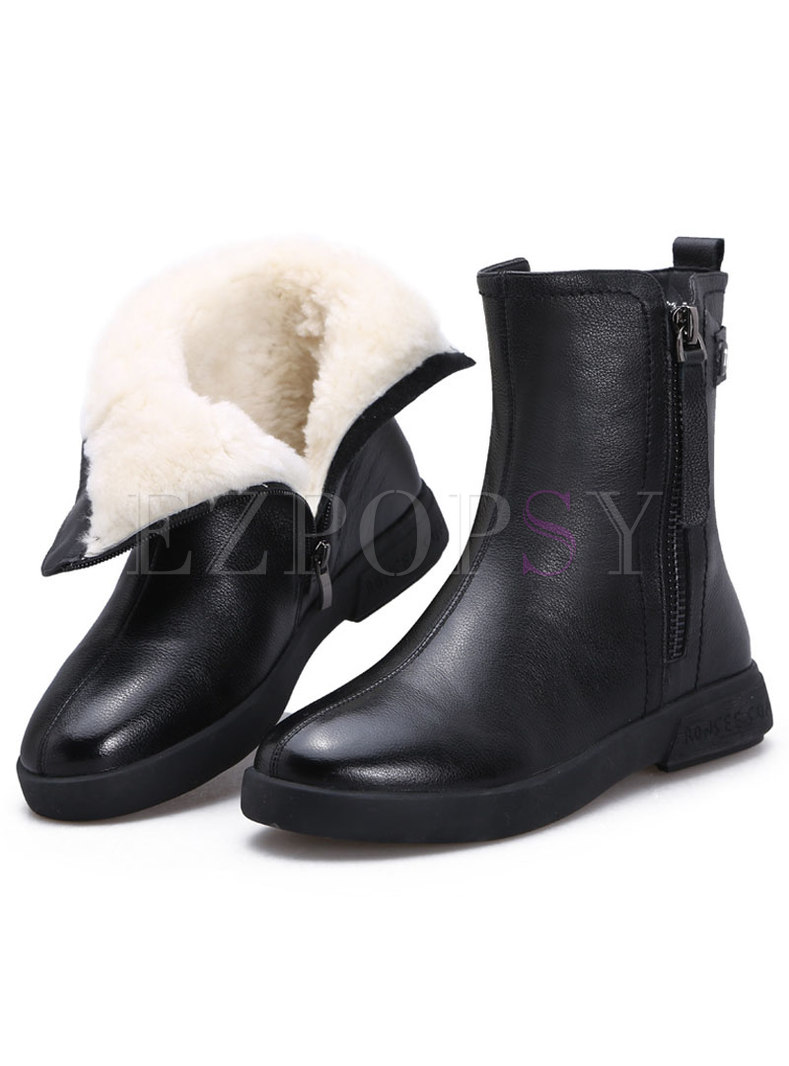 Rounded Toe Wool Flat Short Snow Boots