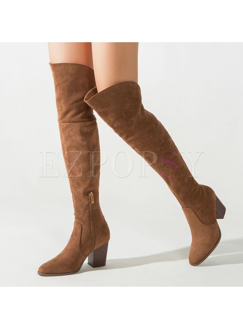 Pointed Toe Block Heel Over Knee Boots