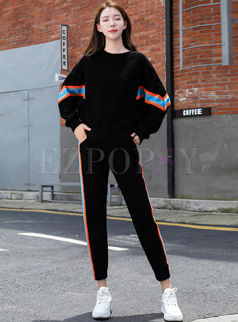 Striped Patchwork Pullover Sweatshirt Pant Suits