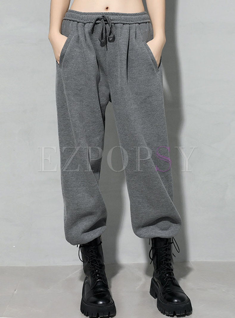 High Waisted Drawstring Knitted Straight Pants