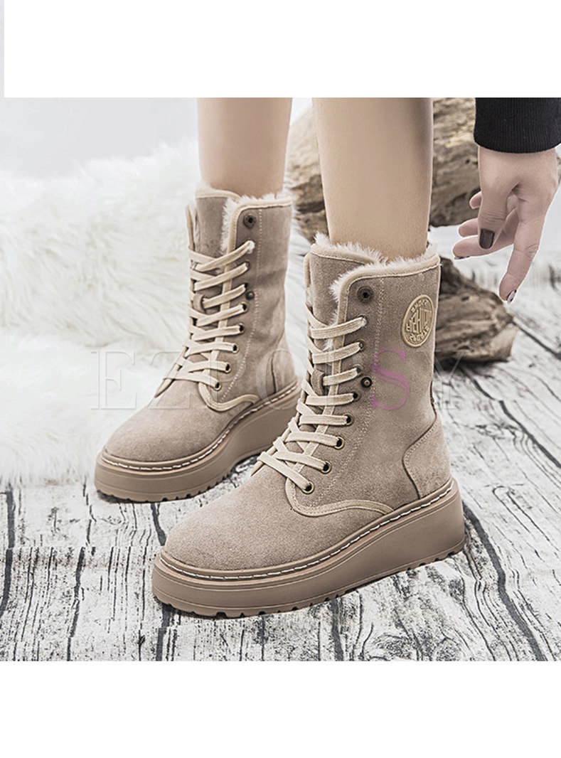 Rounded Toe Short Plush Platform Snow Boots