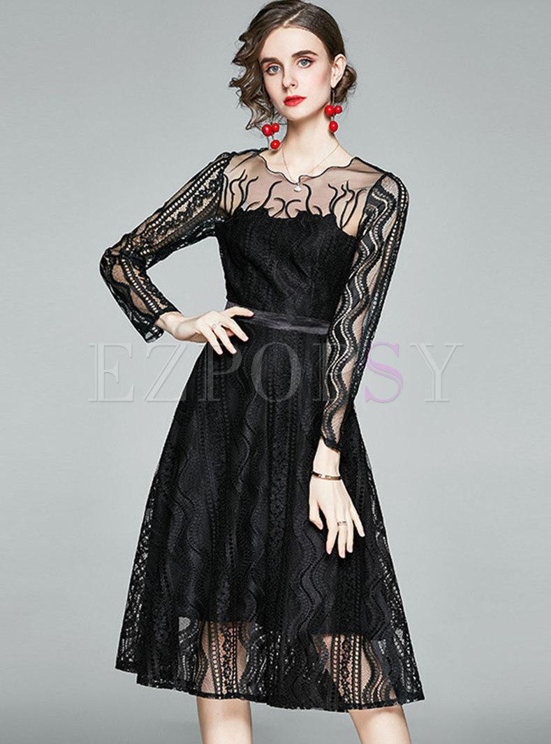 Transparent Lace Mesh Patchwork Midi Dress
