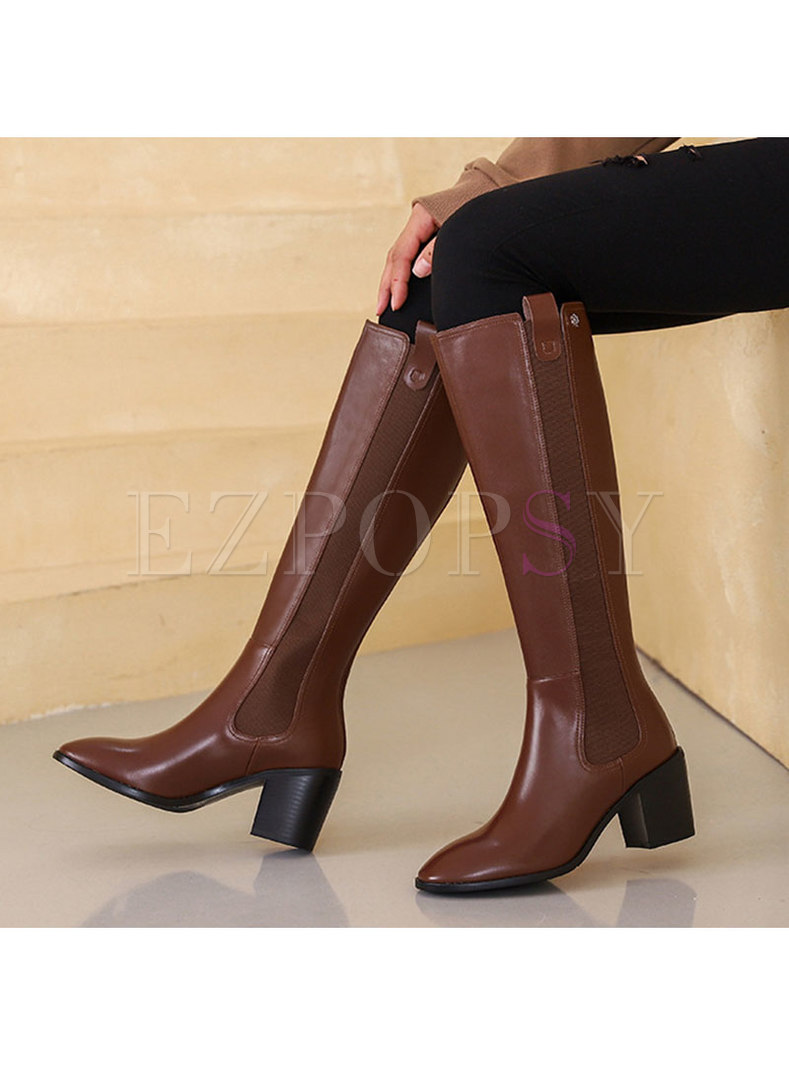 Rounded Toe Chunky Heel Long Boots
