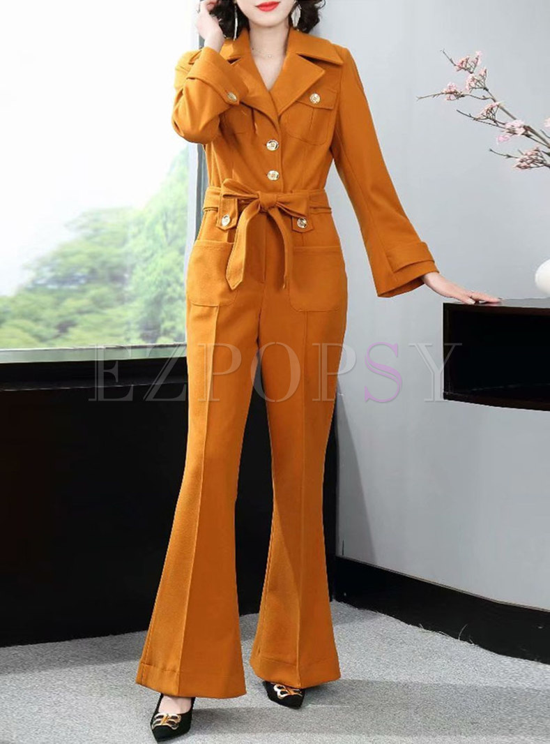 Notched Long Sleeve High Waisted Flare Jumpsuits