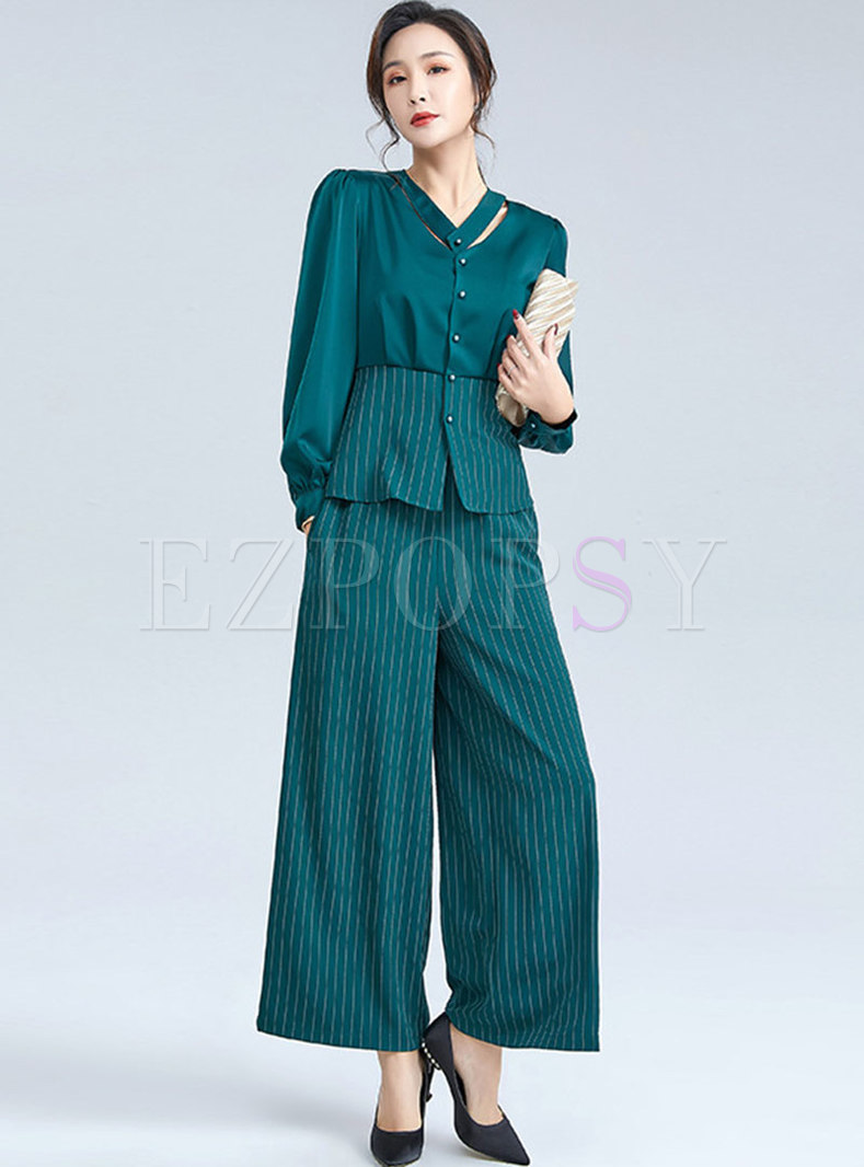 V-neck Openwork Striped Wide Leg Pant Suits