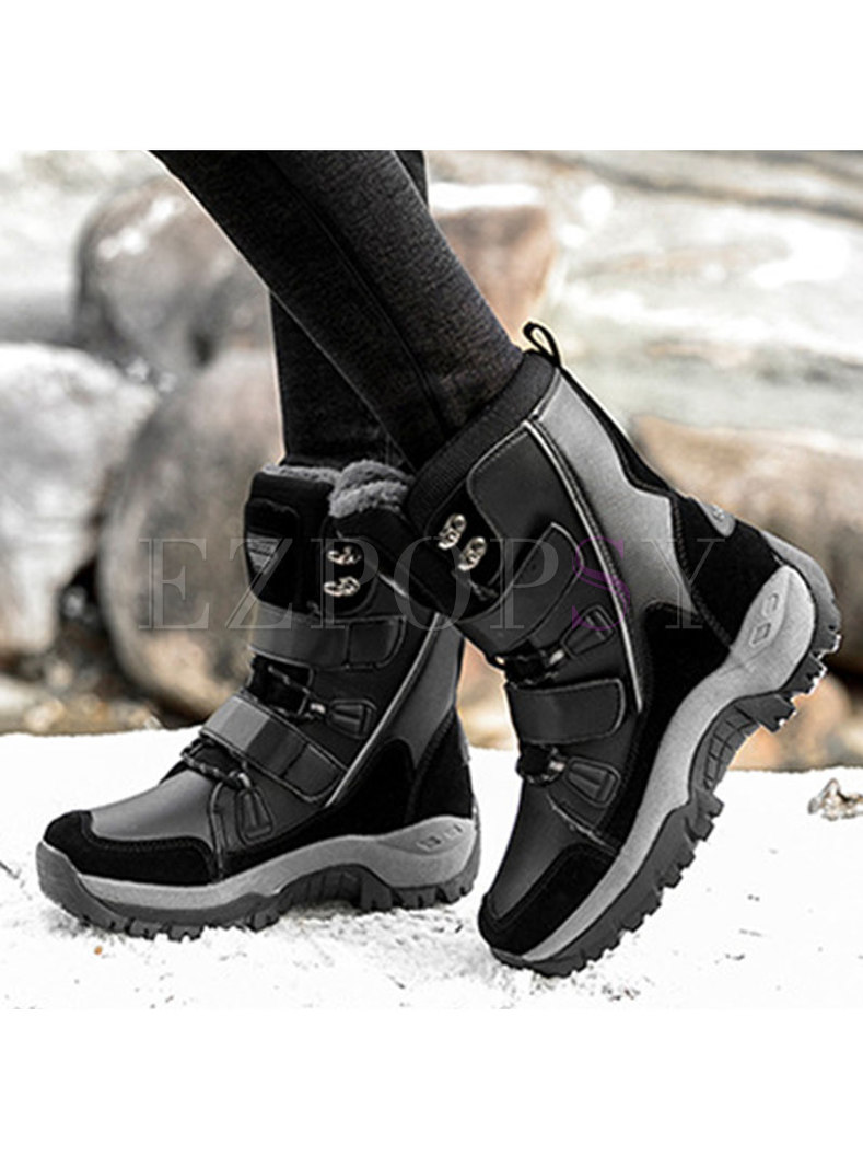 Short Plush Platform Outdoor Snow Boots
