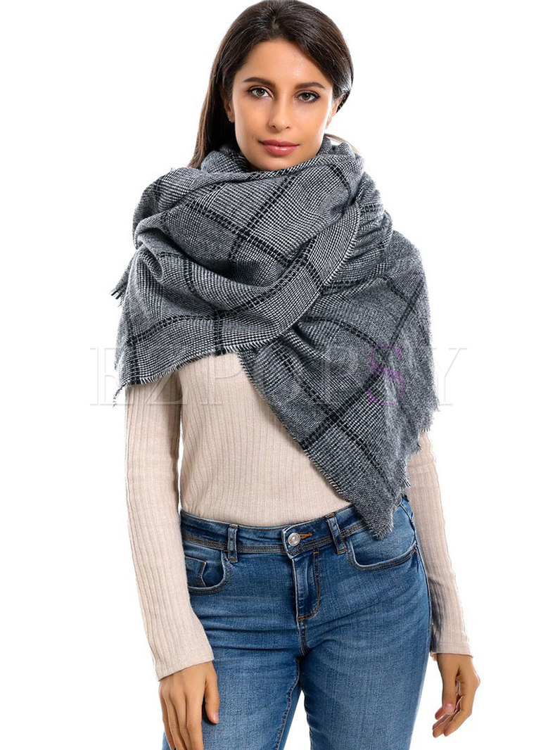Faux Cashmere Fringed Plaid Winter Scarf