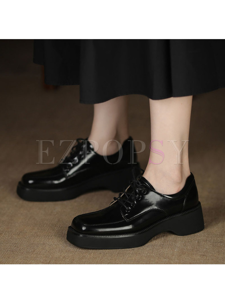Lace-up Square Toe Low Block Heel Loafers