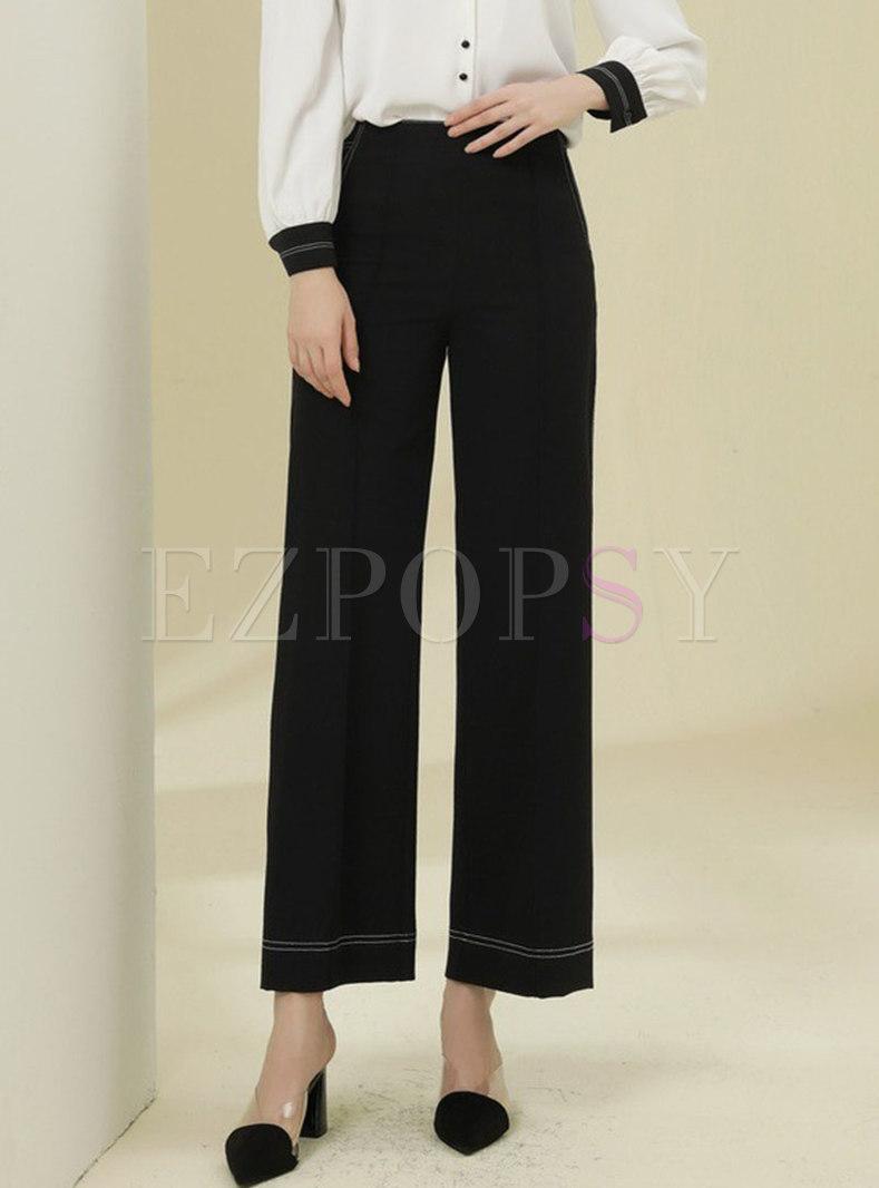 Black High Waisted Casual Wide Leg Pants
