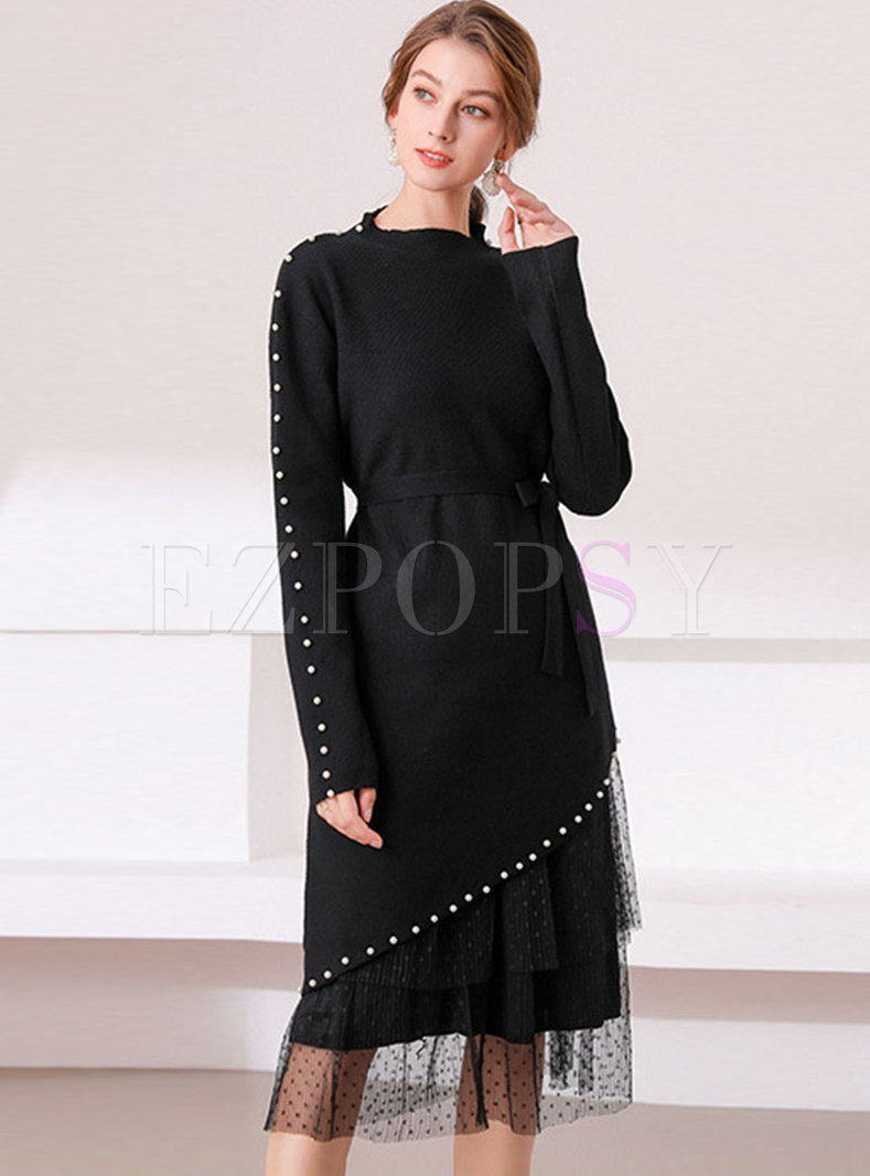 Black Beaded Polka Dot Mesh Knitted Two Piece Dress