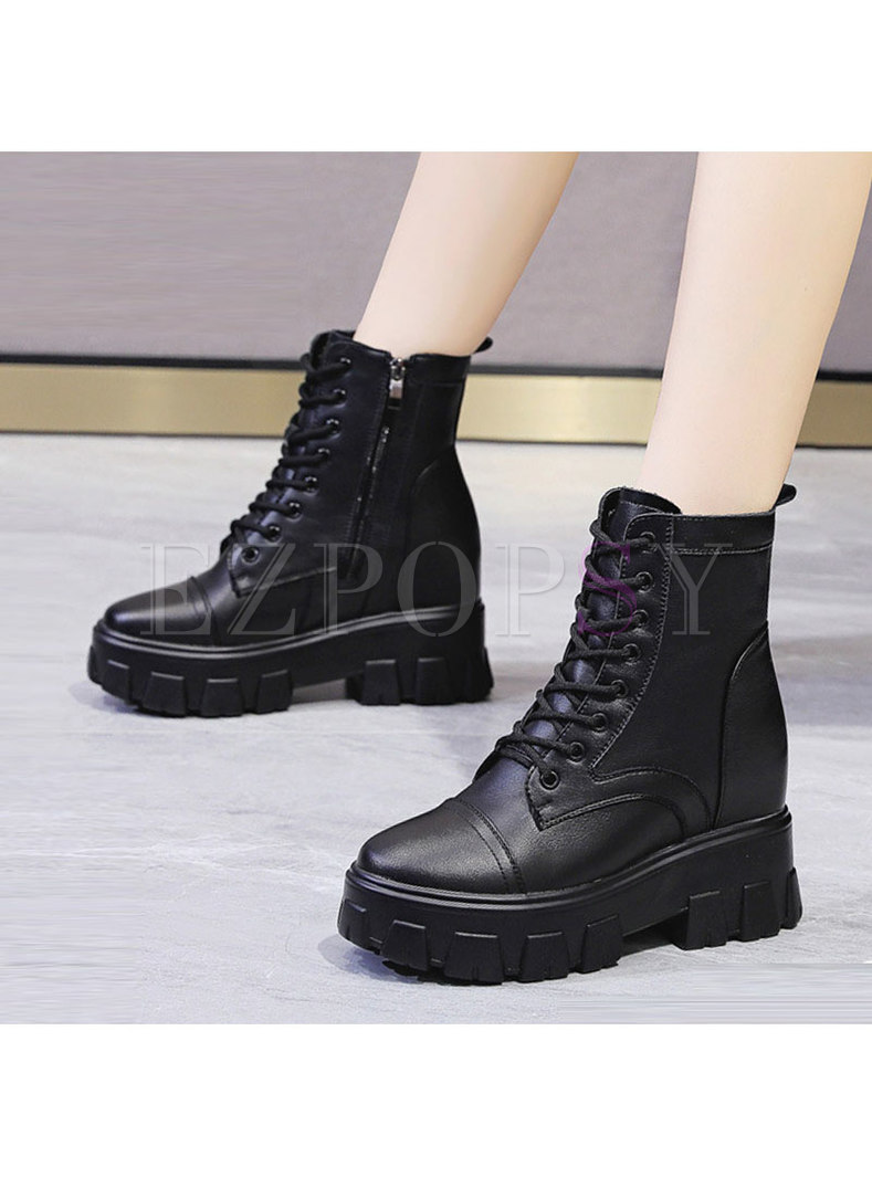Rounded Toe Platform Lace-up Ankle Boots